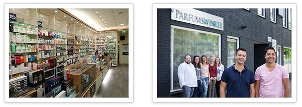 Parfumswinkel verkooppunt en het team